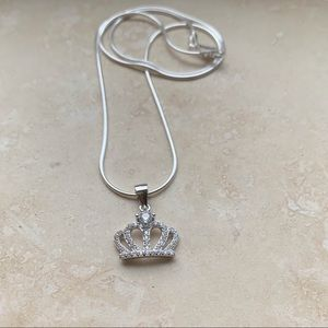 Jewelry - 👑👑NEW👑👑 Sterling Silver CZ Crown Necklace